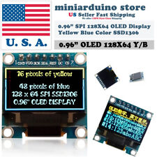 "0.96"" SPI 128X64 LED OLED LCD Yellow Blue Color Display Arduino SSD1306 7 pin"