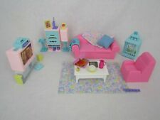 VTG 90s Barbie So Much To Do Living Room Stereo Furniture Accessories Bird Lot