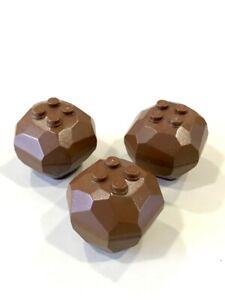 LEGO LOT DE 3 ROCHERS MARRONS - PIERRE - TERRE -