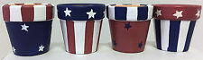 Patriotic Classic Americana Hand Painted Terra Cotta Napkin Rings Set of 8
