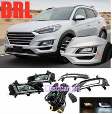 For Hyundai Tucson 2019-2021 DRL LED Bumper Fog Light Kit w/ Wiring Switch Bezel