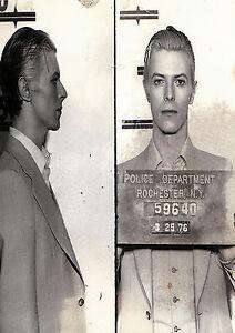 A2 paper for glass frame poster David Bowie Mugshot NY Police arrest