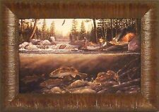 FISHING THE FALLS by Terry Doughty Walleye Canoe Fish 11x15 FRAMED PRINT PICTURE