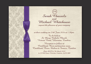 PERSONALISED DAMASK WEDDING DAY AND EVENING INVITATIONS INC ENVELOPES & P&P