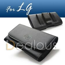 For LG Optimus L90 Black Horizontal Leather Holster Pouch Case Cover Belt Clip