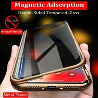 360°Anti-Spy Privacy 2-Side Temper Glass Magnetic Phone Case for iPhone X XS 7 8