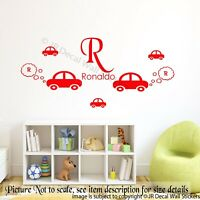 Initial name Car Wall Stickers, Personalised Name sticker, Kids bedroom wall,