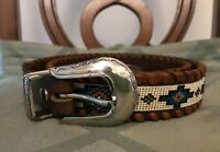 VINTAGE BEADED INDIAN DSGN LEATHER BELT WESTERN COWBOY NATIVE HIPPIE Sz 38