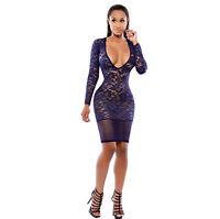 2019 Lady Sexy Deep V Lace Bodycon Party Long Sleeve Hollow Mini Dress Clubwear