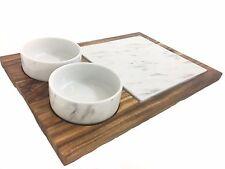 Wooden board & 2 porcelaine effet marbre bols et planche à découper serving tray