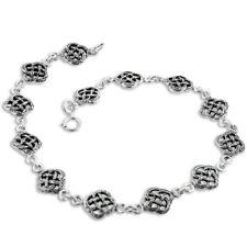 "Heavy Antiqued Celtic Knot Sterling Silver 9.5"" Anklet"