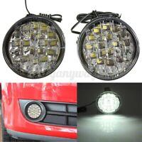 2x 18 LED Round Car DRL Driving Daytime Running Fog Light Day Work Lamp 12V +-
