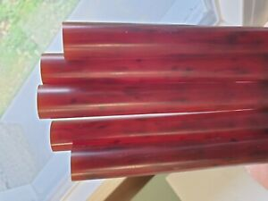 Rare lot of 5 old galalithe rods cherry amber translucid marbled