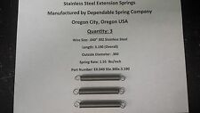 Extension Springs stainless Steel Lot of 3 -  3.2 inch length x .360 OD