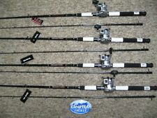 4PK NEW DAIWA WILDERNESS 8'0 MLR TROLLING RODS W/ DAIWA ACCUDEPTH 17LCB REEL