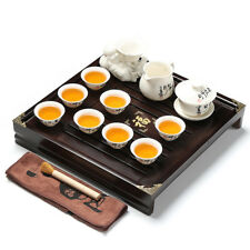 complete tea set Chinese kungfu tea set solid wood tea tray porcelain pot cups 3