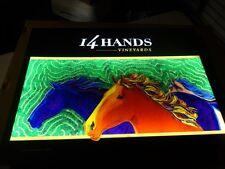 Rare 14 Hands Wine Led Horses Light Sign