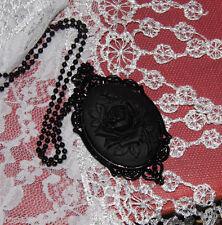 #JR738ft AMULET BIKER WITCH CELTIC MEDIEVAL BLACK ROSE GOTHIC Cameo Necklace