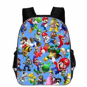 Super Mario Backpack Kids Boys Multi Character School Shoulder Rucksack Bag 13''