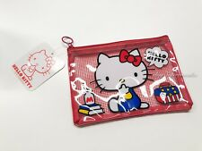 Hello Kitty Sanrio Mesh vinyl Zipper case pouch bag NEW RED 170 X 125mm