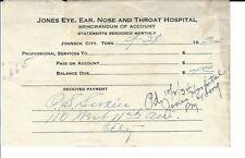 AR-011 - 1934 Jones Eye Ear Nose Throat Hospital Johnson City TN Receipt Vintage