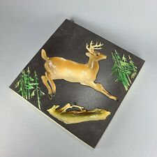 Vintage COPR Ornamental Arts And Crafts Deer Reverse Relief Wall Plaque Lodge