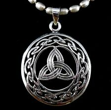 Solid 925 Sterling Silver Celtic Knot Round Trinity TRIQUETRA Pendant Amulet