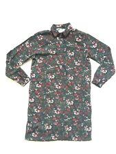 JIAN RUYI Size 12-14 Floral Warm Shirt Sweater Dress BNWT Pockets Dark Green