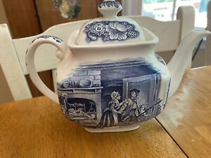 Staffordshire England Liberty Blue Minute Men Teapot Historic Colonial Scenes