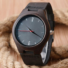 100 Nature Wood Bamboo Genuine Leather Band Strap Men Women Analog Wrist Watch