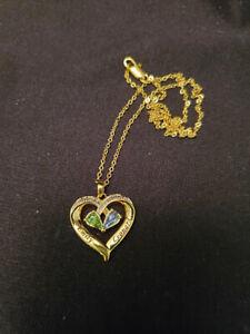 "The Danbury Mint ""Emily, Leonard"" YGP Heart Diamond Crystal Color Necklace(M1175"