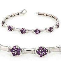 Natural Purple Amethyst Flower cut Tennis Bracelet white gold over silver