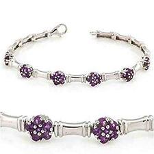 Natural Purple Amethyst Flower cut 0925 Sterling silver Bracelate