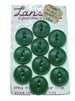 "10 Vintage Lansing 2-Hole Buttons on Original 15¢ Card NOS Green Matte 3/4"""