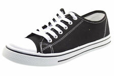 Mens Flat Plimsolls Canvas Shoes Stylish Comfy Slip on Lace up Trainer Size Baltimor - Black UK 11 - EU 44