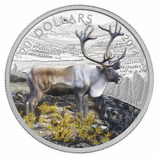 2014 Canada 1 oz Colorized Proof $20 Fine Silver Coin The Iconic Caribou, NO TAX