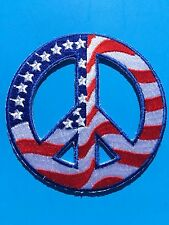 """USA AMERICAN FLAG PEACE SIGN 60's ROUND EMBROIDERED PATCH (3"""") - HIGH QUALITY!"""