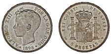 5 SILVER PESETAS / 5 PESETAS PLATA. DURO. MADRID ALFONSO XIII. 1898*. UNC / SC.
