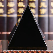 Bg _ 100% Natürlich Obsidian Pyramide Form Quarz Heilung Kristall Probe Schwarz