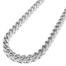 Men's Stainless Steel 8mm Silver Franco Box Cuban Curb Link Chain Necklace 24""