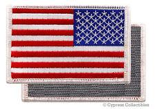 AMERICAN FLAG BIKER PATCH WHITE LEFT embroidered USA w/ VELCRO® Brand Fastener