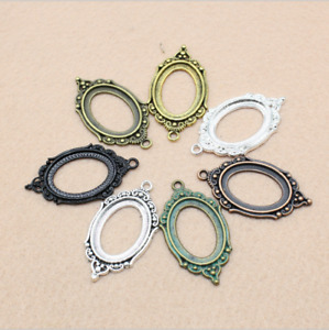 3/15pcs 18X25mm oval base time gem alloy jewelry pendant accessories