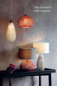 Glass Ceiling Pendant Table Lamp Set Copper/Mercury Copper/Chrome Glass Shade
