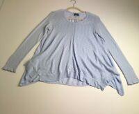 Left of Center Women's Long Sleeve Blouse Top Small S Light Blue Chiffon Layer