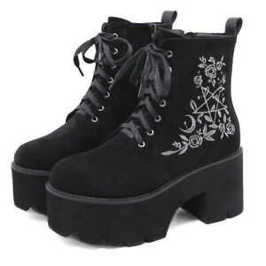 Gothic Embroidered Suede Platform Women's Round Toe Chunky Heel Punk Ankle Boots