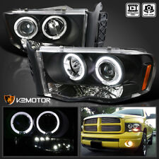 2002-2005 Dodge Ram 1500 2500 3500 Halo+LED Projector Headlight Black Left+Right