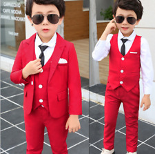 Kids Boys Fashion Clothing Wedding Party Suit Red Coat+Vest+Pants Child Outfits