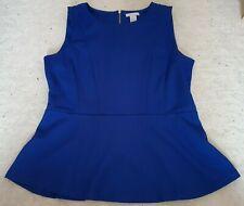 Women's H&M Blue Sleeveless Peplum Top with Zip Backing (L)