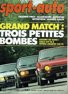 SPORT AUTO 248 1982 GP ALLEMAGNE AUTRICHE GOLF GTI 16S RITMO 125 TC ESCORT RS 16