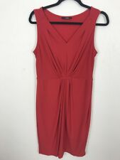 George Red Dress 14 Stretch Slinky Straight Fitted Formal Party Occasion Ruched